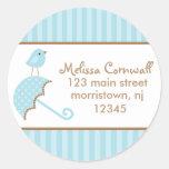 Blue Bird Address Labels Round Stickers