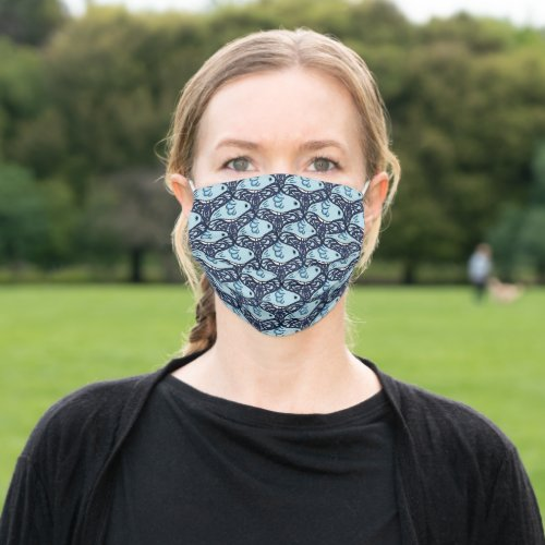 Blue bird and butterfly tessellation pattern adult cloth face mask