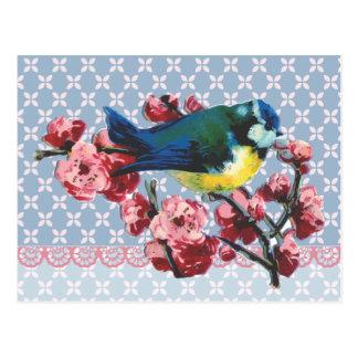 Blue Bird and Cherry Blossom Postcard
