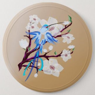 Blue Bird and Cherry Blossoms-Buttons Pinback Button