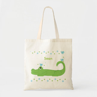 Blue bird and gator tote bag