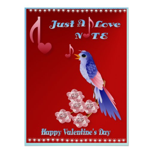 Blue Bird and Love Notes-lettered Poster