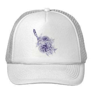 Blue Bird and Peony Hat