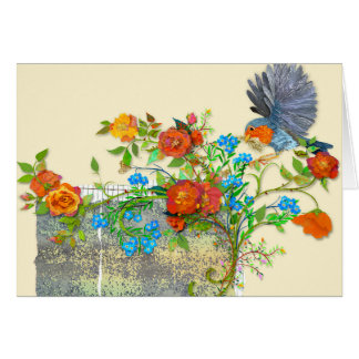 Blue bird and roses card