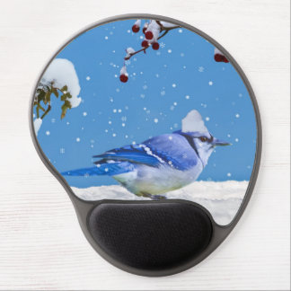 Blue Bird and Snow Gel Mouse Pad