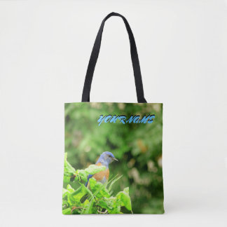Blue Bird and your name Tote Bag