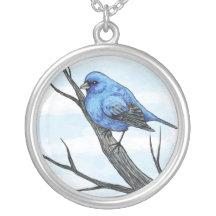 Blue Bird Art Necklace
