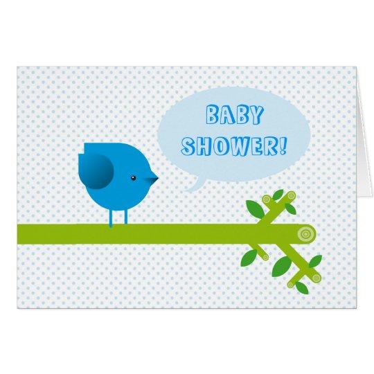 Blue bird baby shower card