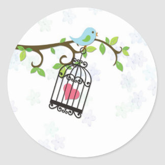 Blue Bird, Bird Cage Classic Round Sticker