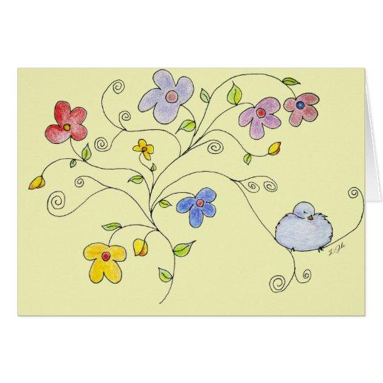 Blue Bird Bouquet Card