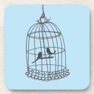 Blue Bird Cage coaster set