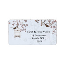blue bird cage, love birds return address labels
