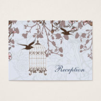 blue bird cage, love birds wedding reception cards