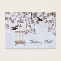 blue bird cage, love birds wishing well cards