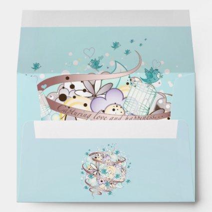 Blue Bird Cages Wedding Envelopes