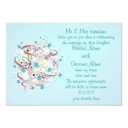 Blue Bird Cages Wedding Personalized Invites