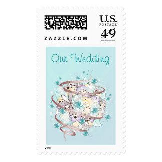Blue Bird Cages Wedding Postage