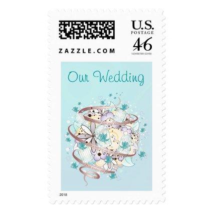 Blue Bird Cages Wedding Postage Stamp