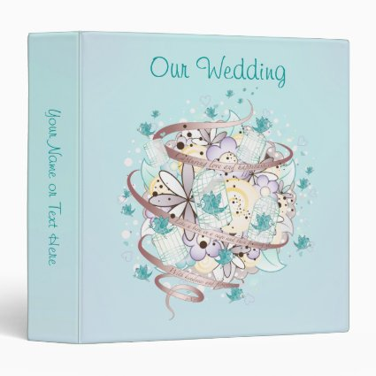 Blue Bird Cages Wedding Vinyl Binder