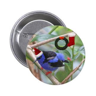 Blue Bird Christmas Pinback Buttons