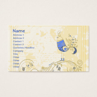 Blue Bird Cute Girly Retro Floral Business Card