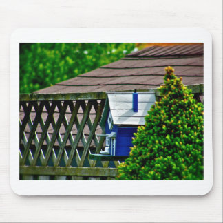 Blue Bird Feeder in Backyard Mouse Pad