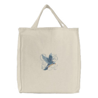 Blue Bird flight Embroidered Tote Bag