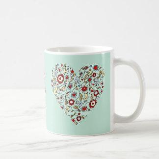 Blue Bird Flowers Mother's Day Love Heart Mug