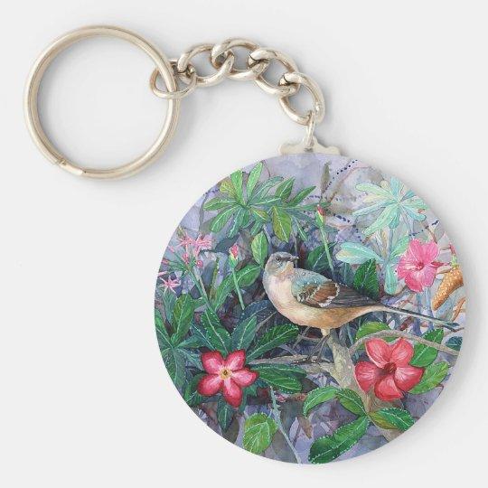 Blue Bird in Garden Keychain