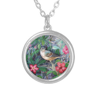 Blue Bird in Garden Silver Plated Necklace