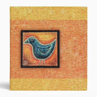 Blue Bird in Oil Pastel 3 Ring Binder