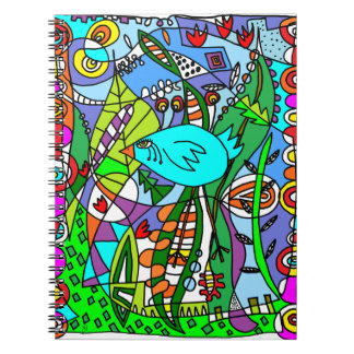 Blue Bird in Paradise Spiral Note Books
