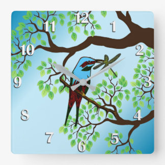Blue Bird in Trees Blue Sky Square Wall Clock