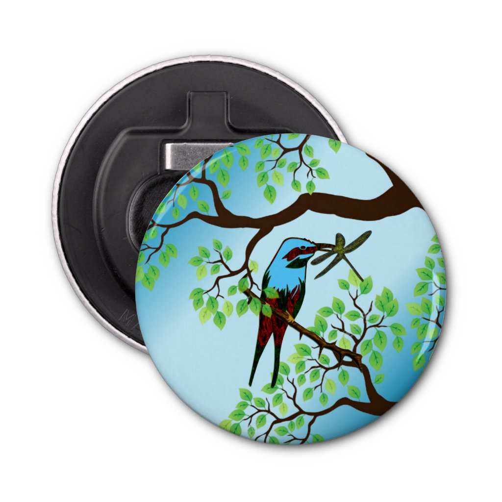 Blue Bird in Trees Bottle Opener