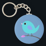 "Blue Bird Keyring<br><div class=""desc"">Cute vector bird in shades of blue on keychain.  Click on Customize button to select a different background color.</div>"