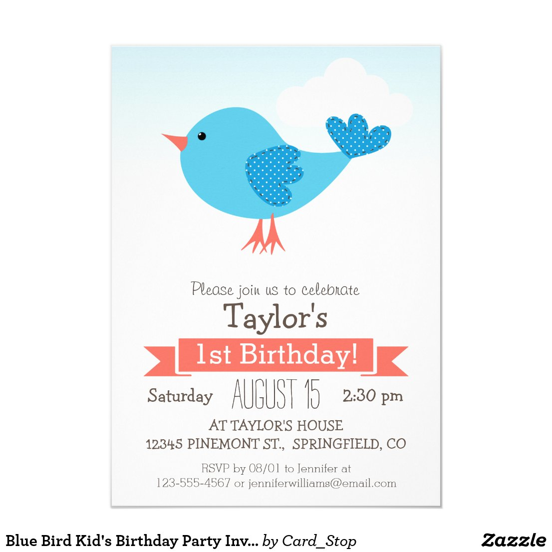 Blue Bird Kid's Birthday Party Invitation