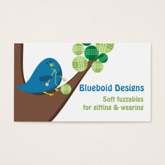 Blue bird knitting needles balls of yarn tree business card