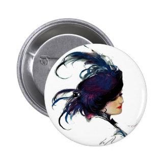 Blue-bird Lady Pinback Buttons