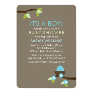 Blue Bird Nest and Blossoms Boy Baby Shower Card