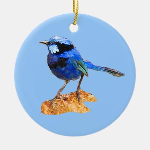 Blue bird of happiness ceramic ornament
