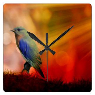 Blue Bird of Happiness Square Wallclock