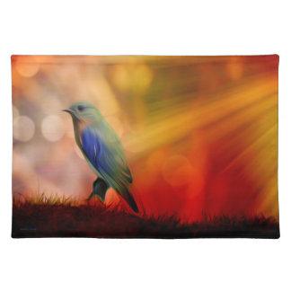 Blue Bird of Happiness Cloth Place Mat