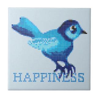Blue bird of happiness crossstitch dots ceramic tile