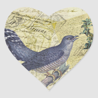 Blue Bird of Happiness Heart Stickers