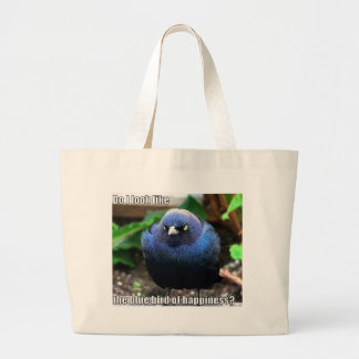 blue bird of happiness large tote bag
