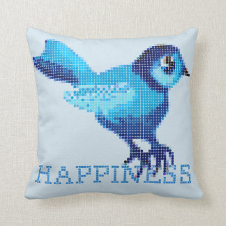 Blue bird of happiness made up of dots throw pillow