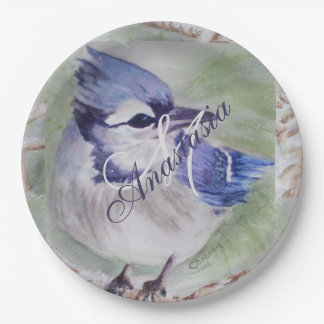 BLUE BIRD OF HAPPINESS MONOGRAM PARTY PAPER PLATE