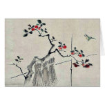 Blue bird on a branch of a fruit tree card