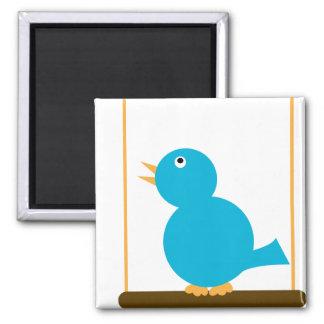 Blue Bird on a Perch Magnet