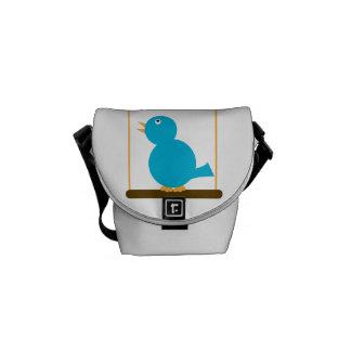 Blue Bird on a Perch Mini Messenger Bags